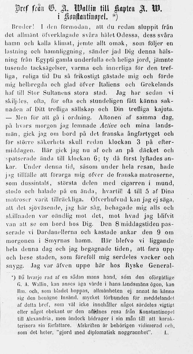 Ilmarinen-lehdessä 31.12.1855 postuumisti julkaistu G. A. Wallinin kirje. Kuva: Kansalliskirjaston digitoidut aineistot.