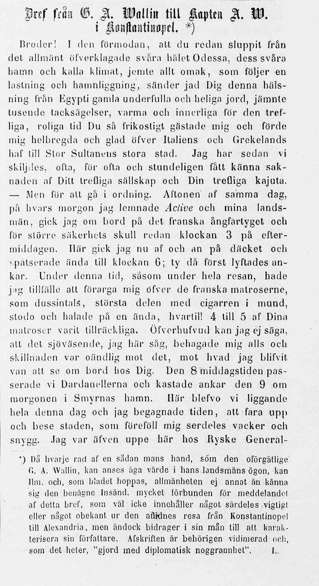 G.A. Wallins brev som publicerades postumt i tidningen Ilmarinen 31.12.1855. Bild: Nationalbibliotekets digitala samlingar.