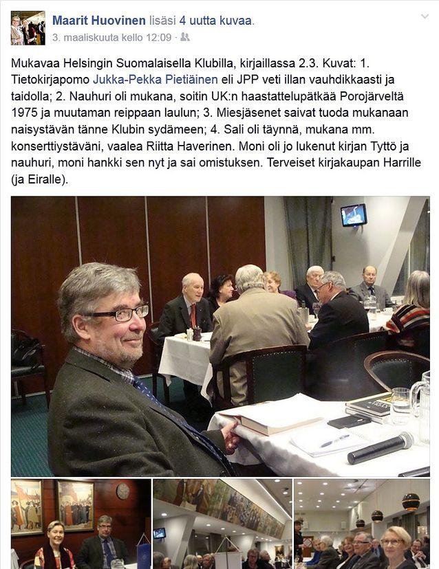 Suomalainen Klubi's literature evening 2.3.2015. Photo and Facebook post: Maarit Huovinen.