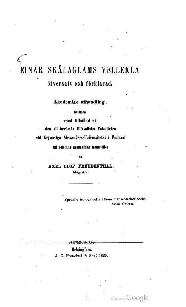 """A. O. Freudenthalin väitöskirja """"Einar Skålaglams Vellekla öfversatt och förklarad"""" (1865)"""
