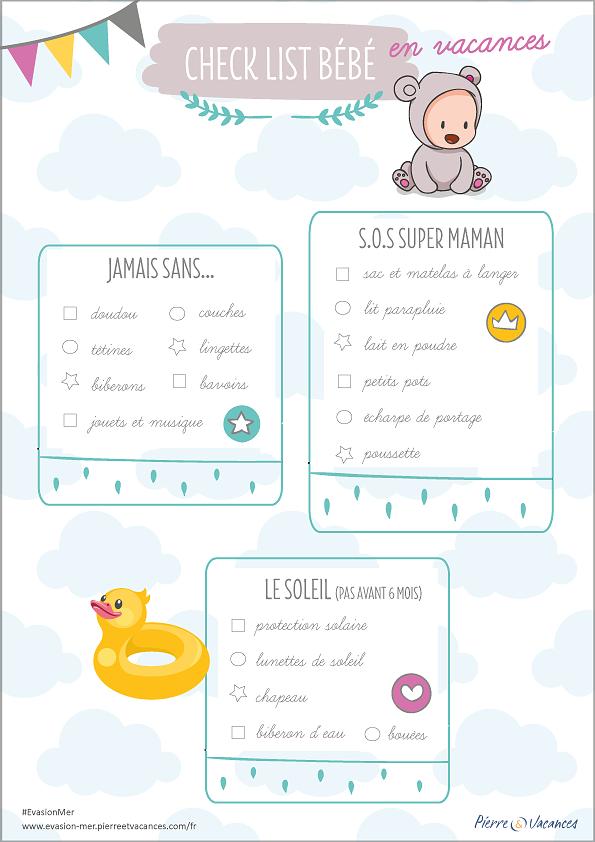Check-list bébé pour les vacances