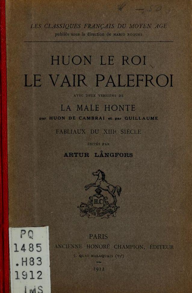 Arthur Långfors: Huon le Roi, Le vair palefroi, 1912.