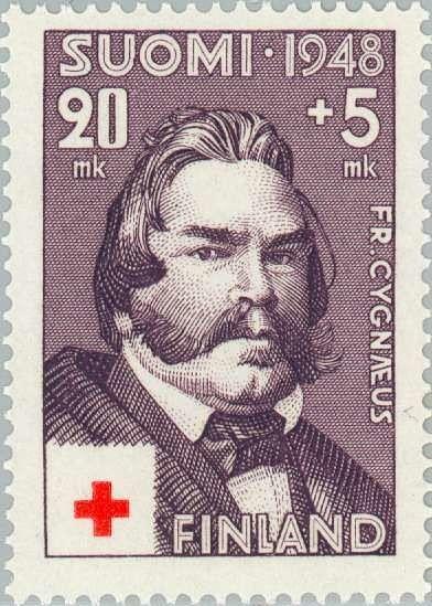 Fredrik Cygnaeus pääsi koristamaan suomalaista postimerkkiä vuonna 1948, sata vuotta organisoimansa Floran päivän juhlan jälkeen.