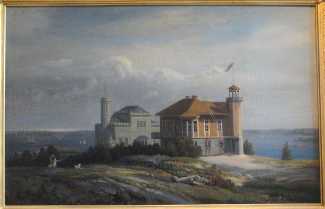Fredrik Cygnaeuksen rakennuttama huvila taidemaalari Johan Knutsonin (1816–1899) 1870-luvulla maalaamana. Kuva: Cygnaeuksen galleria / Johan Knutson.