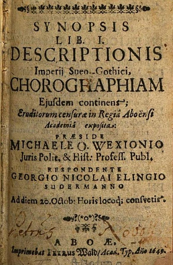 "Verket ""Epitome descriptionis […]"" av Michael Wexionius."