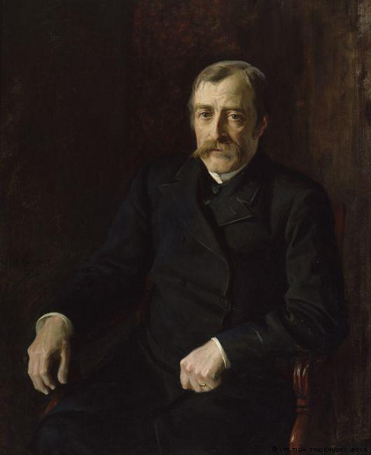 Carl Gustaf Estlander oli tieteen, kulttuurin ja politiikan vaikuttaja. Hänelle myönnettiin valtioneuvoksen titteli, ja hänet aateloitiin vuonna 1898. Kuva: WikimediaCommons / Albert Edelfelt.