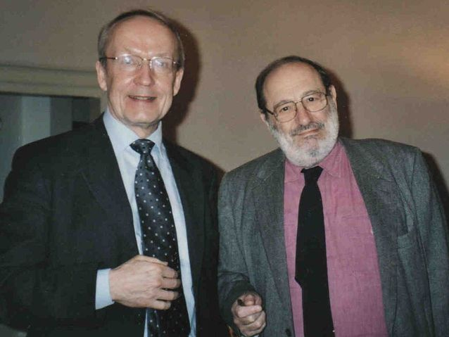 Eero Tarasti with Umberto Eco in Bologna, Italy.​
