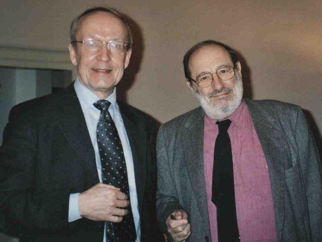 Eero Tarasti with Umberto Eco in Bologna, Italy.