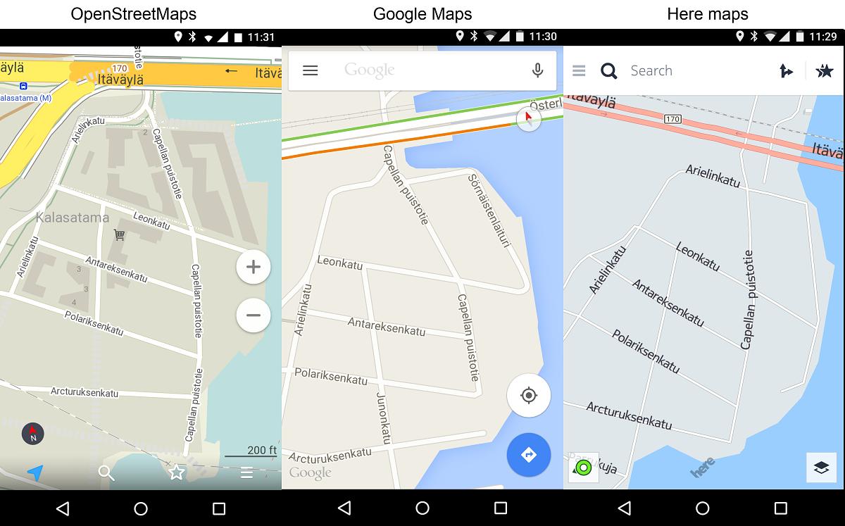 Helsingin uusi Kalasataman alue kolmessa eri kartassa. Vapaaehtoisten ylläpitämä OpenStreetMaps antaa alueesta yksityiskohtaisimman kuvan. Sekä Googlen, että Nokian kartoista puuttuvat yhä talot, kevyen liikenteen väylät ja Itäväylän kiertokaista.