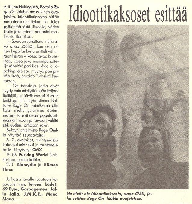 Rumba-lehden juttu CMX:n duokeikasta 1990.