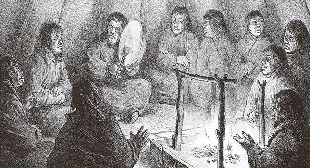 Samojedishamaani rummuttaa tulen ääressä (O. Finsch 1894)