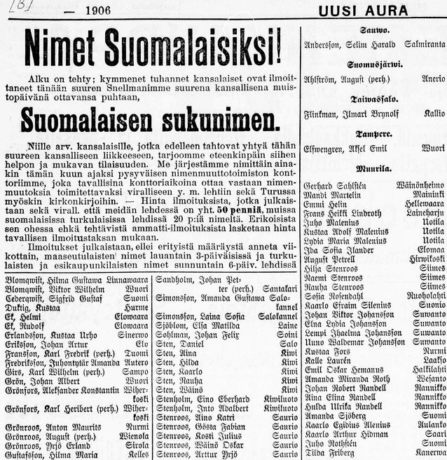 Nimien suomalaistamiskampanjan huikeaa tulosta käytettiin nimenmuutosten puolesta propagoimisessa jo Snellmanin päivänä. Joukkoliikkeen luomiseksi ja ylläpitämiseksi katsottiin lehdistössä tärkeäksi painottaa, että kyseessä nimenomaan oli koko kansan hanke. Kuva: Uusi Aura 12.5.1906.
