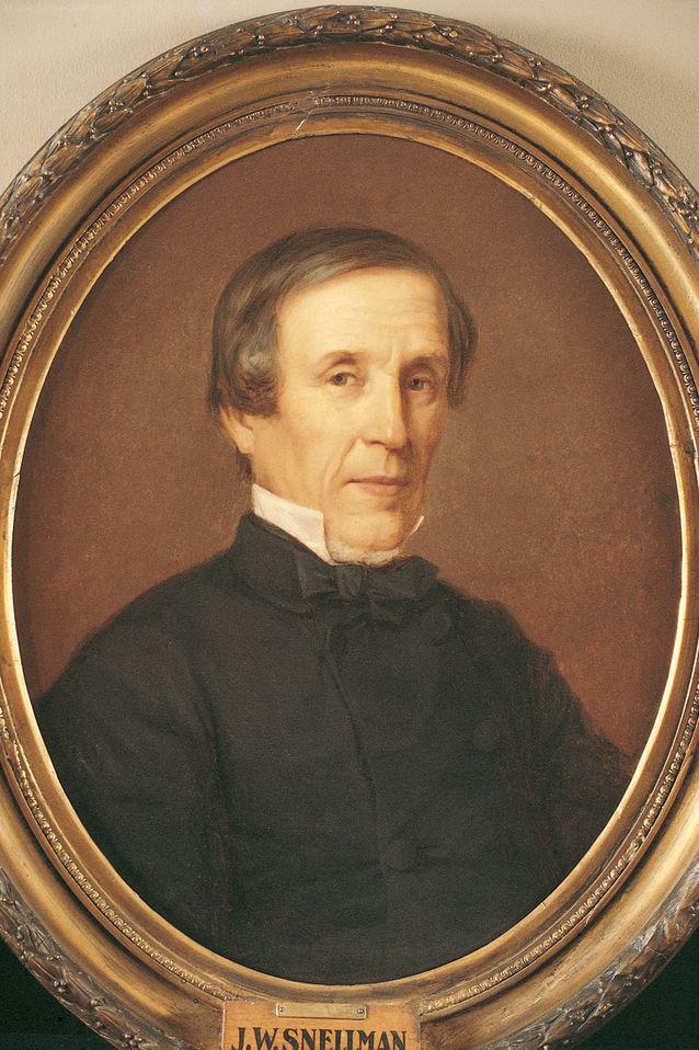 Snellman pääsi pitkän riidan jälkeen lopulta sopuun yliopiston johdon kanssa. Hänet nimitettiin professoriksi vuonna 1856. Kuva: Helsingin yliopistomuseo.