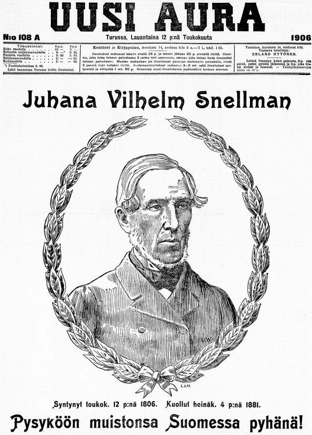 Suomalaisessa lehdistössä julkaistiin Snellmanin päivänä 12.5.1906 laajoja artikkeleita Snellmanista ja suomalaisuudesta. Kuva: Uusi Aura 12.5.1906.