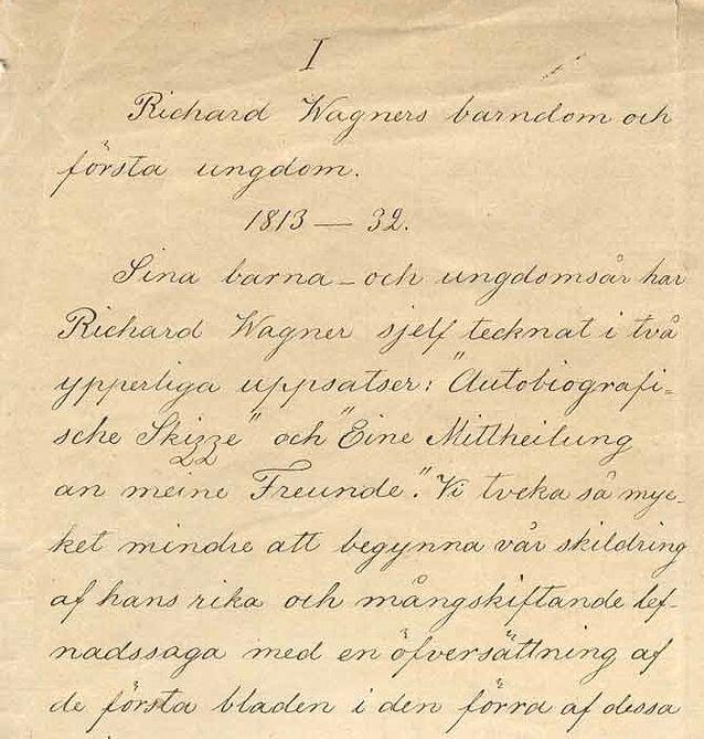 Martin Wegelius suunnitteli muiden töidensä ohella kirjoittavansa elämäkerran ihailemastaan Richard Wagnerista. Se ei kuitenkaan koskaan valmistunut, mutta käsikirjoituksesta on säilynyt fragmentteja. Kuva: Richard Wagnerin elämäkerran käsikirjoitus, Doria-tietokannan e-julkaisu.
