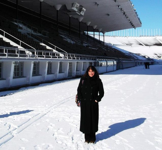 Me visiting the Olympic Stadium during my first long term visit to Helsinki in March 2013. Even then I knew Helsinki was a place where I would really like to live and work….Photo by Mina di Marino.​