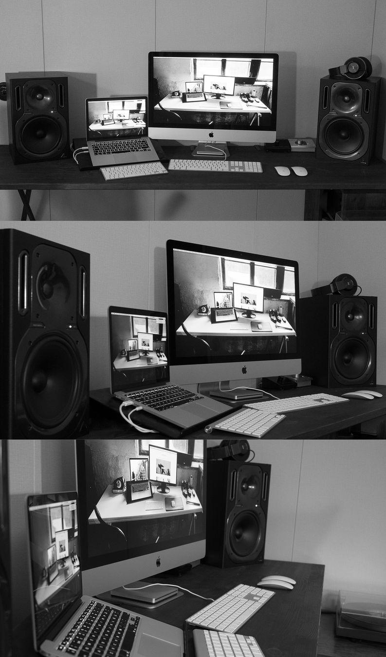 Viimein työpöytä on jonkinlaisessa kunnossa. Thunderbolt johdolla iMac toimii nyt myös kakkosnäyttönä läppärille ja musiikit toistuvat molempien koneiden lisäksi myös LP soittimelta. En malta odottaa arjen alkamista.