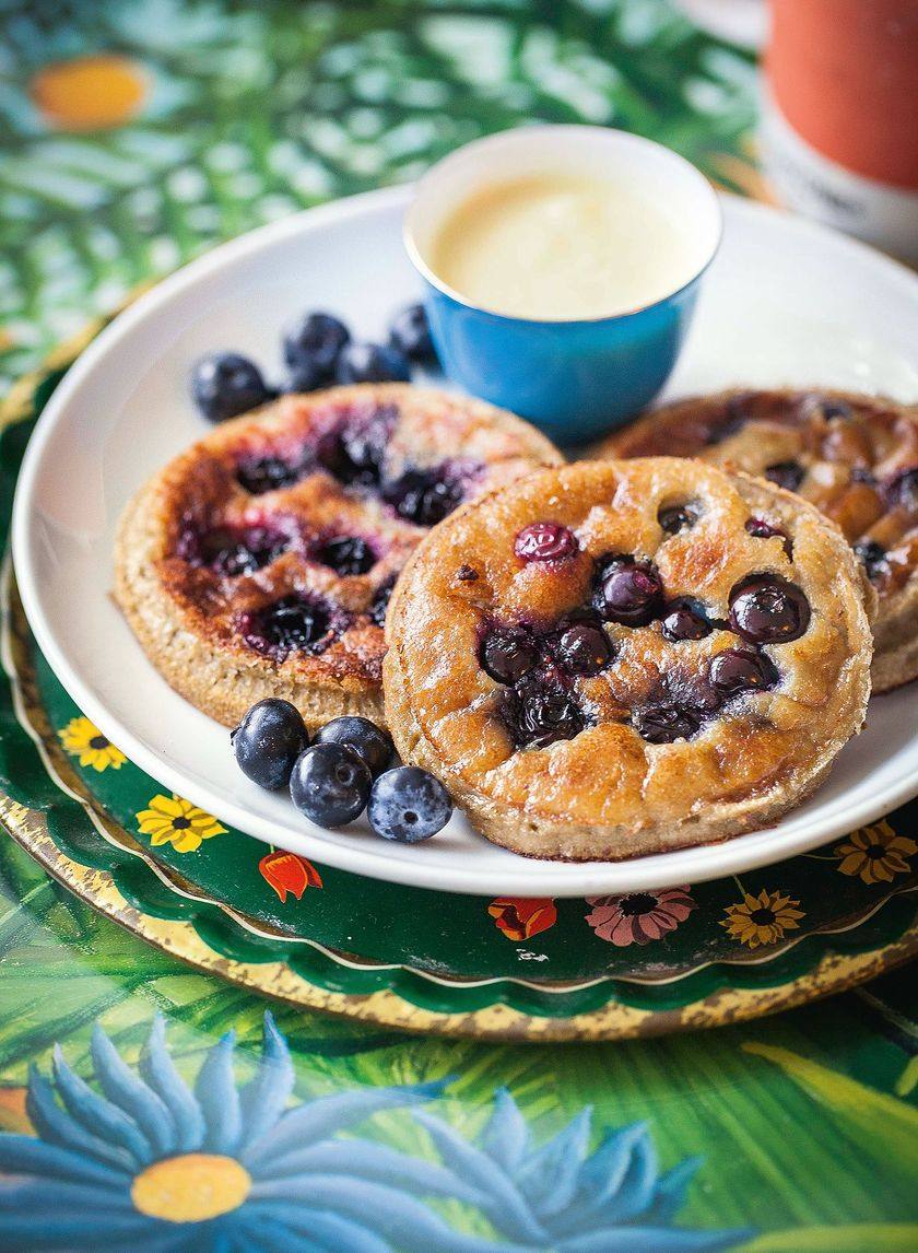 Blueberry Pancakes with Mango Cashew Cream The Happy Foodie