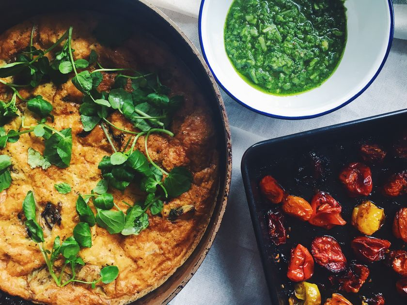 Slow-Baked Artichoke Frittata, Watercress Pesto and Slow-Roast Tomatoes The New Vegetarian review