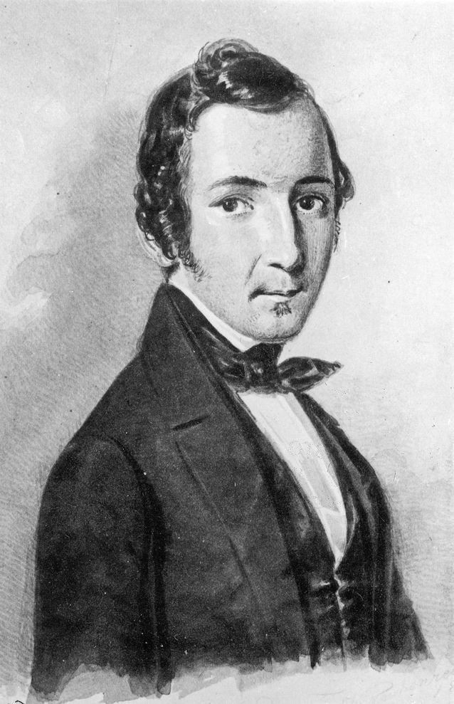 Zacharias Topelius som redaktör för Helsingfors Tidningar år 1845. Bildkälla: Svenska litteratursällskapet i Finland.