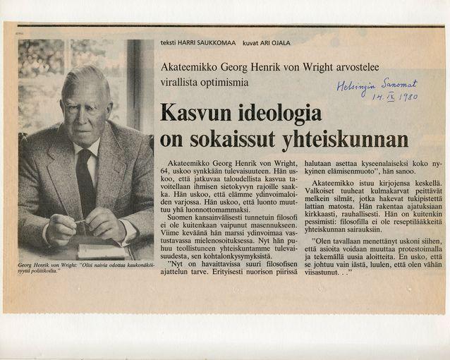 Tidningsurklipp från Von Wright och Wittgenstein -arkivet.
