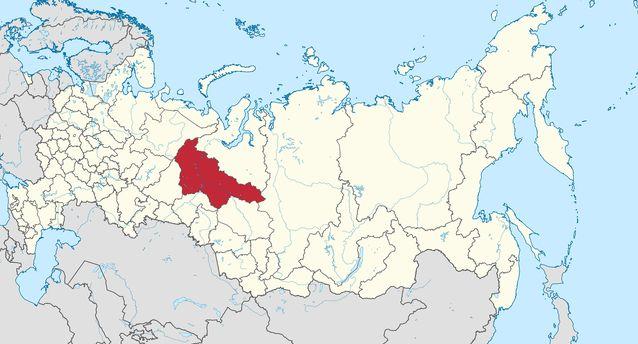 Kuvan kartassa on maalattu punaisella mansien perinteiset asuinalueet. Kannisto matkasi alueella viiden vuoden ajan. Kuva: Wikimedia Commons.