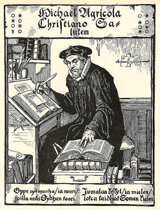 Mikael Agricolasta ei ole säilynyt aikalaiskuvaa. Kuvassa Albert Edelfeltin näkemys raamatunsuomentajan ulkonäöstä. Kuva: Albert Edelfelt / Wikimedia Commons.