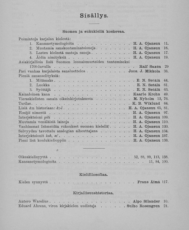 The table of contents of the first Virittäjä journal in 1904. Alongside his work as editor-in-chief, Heikki Ojansuu was also one of the most productive writers of the journal. Photo: Virittäjä 1/1904, digitised material at the National Library.