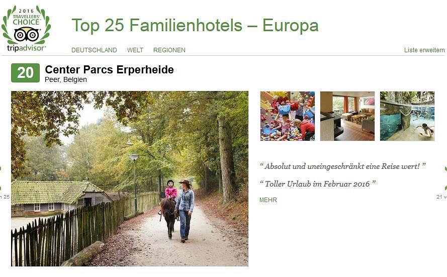 Center Parcs Erperheide gehört laut Tripadvisor zu den 25 besten Familienhotels in Europa