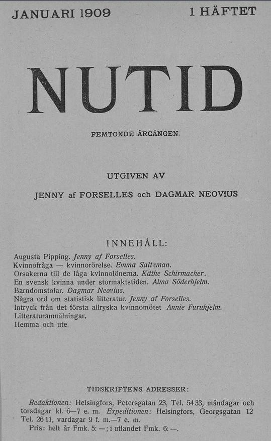 """Ensimmäinen Jenny af Forsellesin päätoimittama """"Nutidin"""" numero ilmestyi tammikuussa 1909. Kuva: Kansalliskirjaston digitoidut aineistot."""