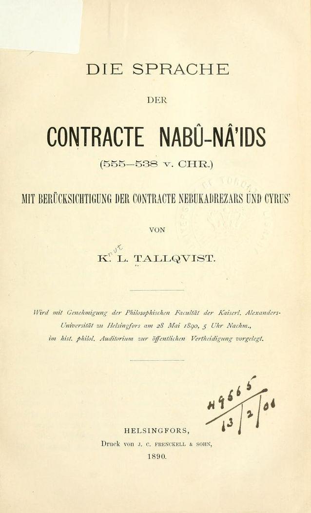 Knut Tallqvistin väitöskirja. Kuvalähde: Internet Archive.