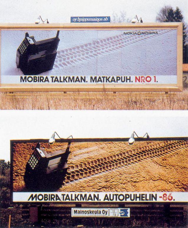 NMT-puhelin Mobira Talkmanin mainos sai parhaan mainoksen palkinnon Suomessa 1986. Kuva: Nokian kuvapankki / Materiaalihakemisto, Nokia History Photos.