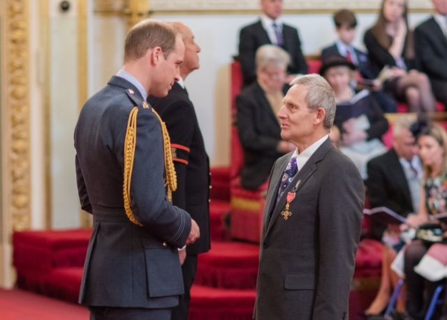 Richard Guy receives OBE from HRH Prince William