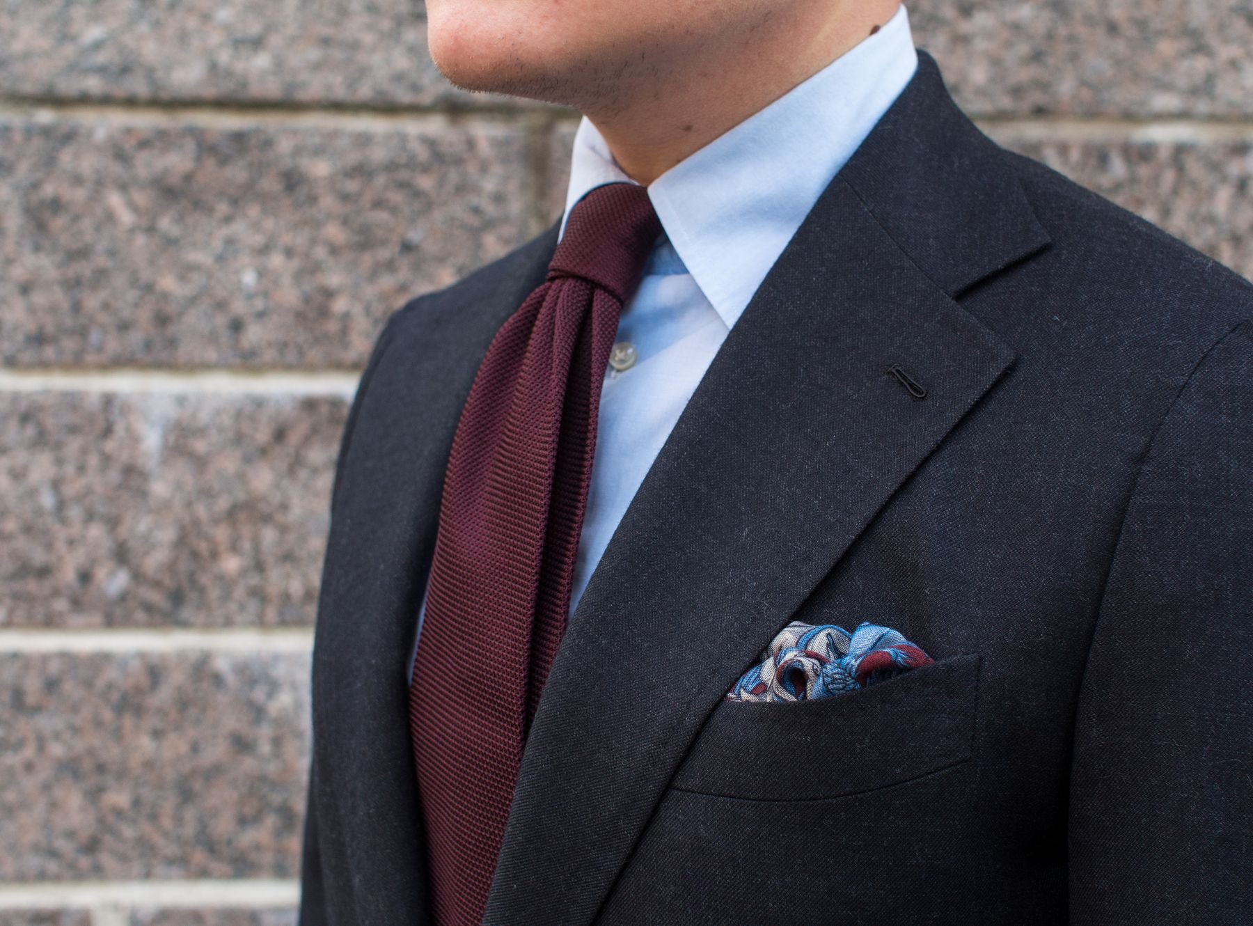 Burgundy grenadine tie with a dark grey suit i quite like how the light blue end to end cotton shirt looks wih the burgundy garza fina weave of the tie and the wool silk blend pocket square ccuart Images