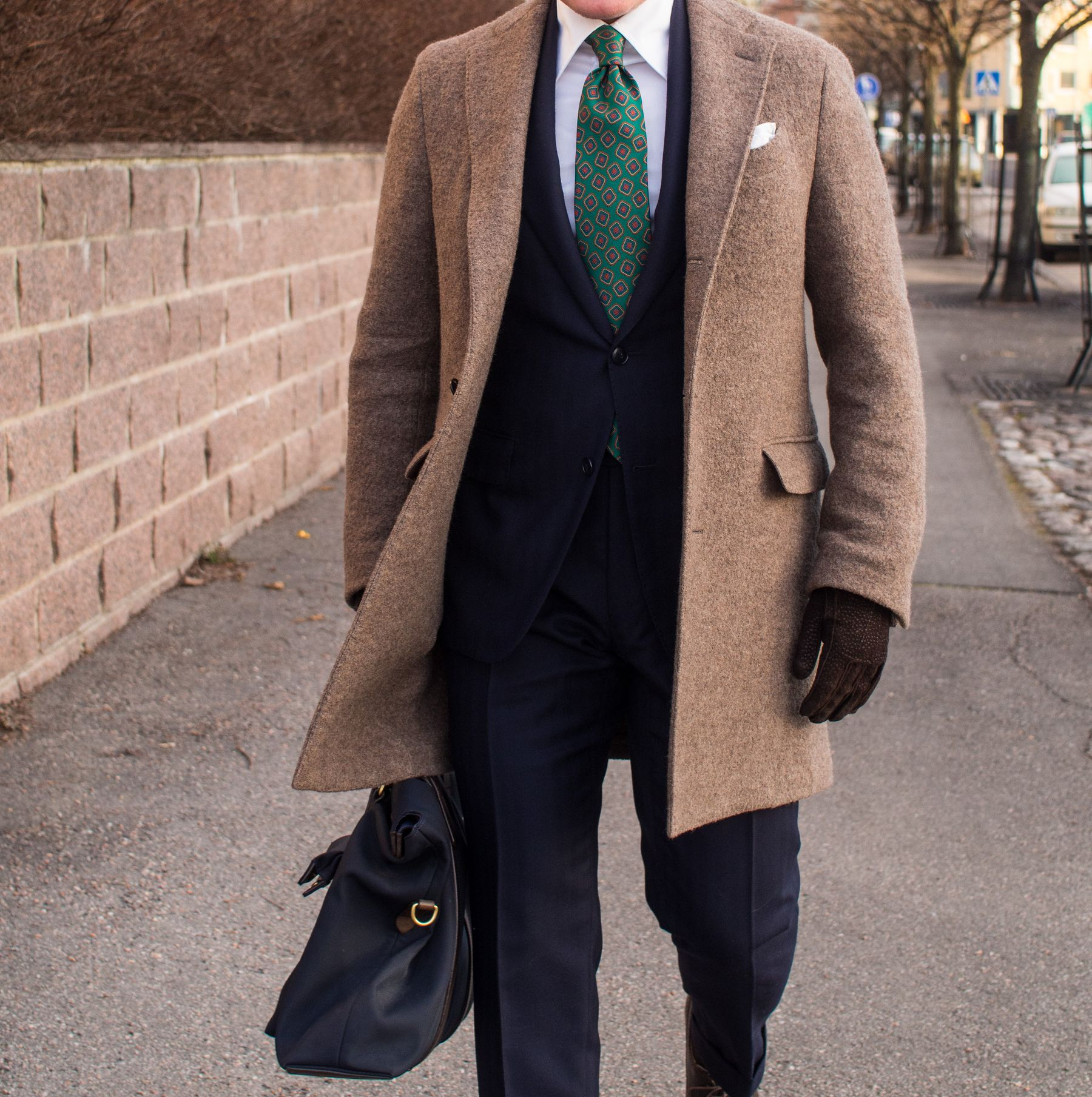 Navy Suit With A Green Vintage Tie