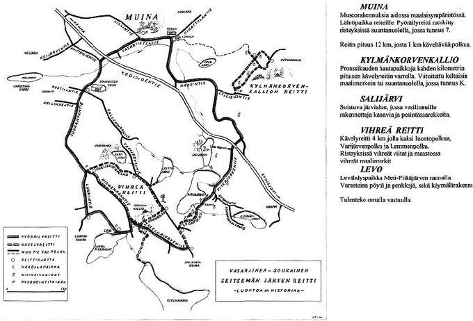 Seitsemän järven retkeilyreitin kartta