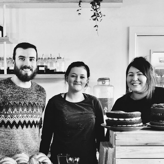 Left to right: Marketing & events coordinator Keir Shields, head baker Eloise Horsfield and co-founder Rebecca English