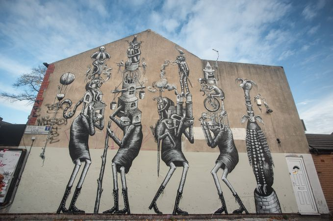 Street art on Snuff Mill Lane by Phlegm. Photo by Chris Saunders.