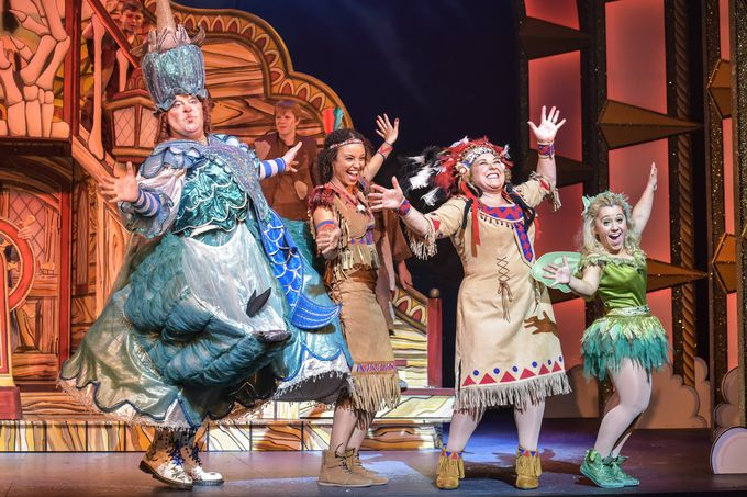 Damian Williams, Gemma Hunt, Wendi Peters and Jo Osmond in Peter Pan. Photo by Robert Day