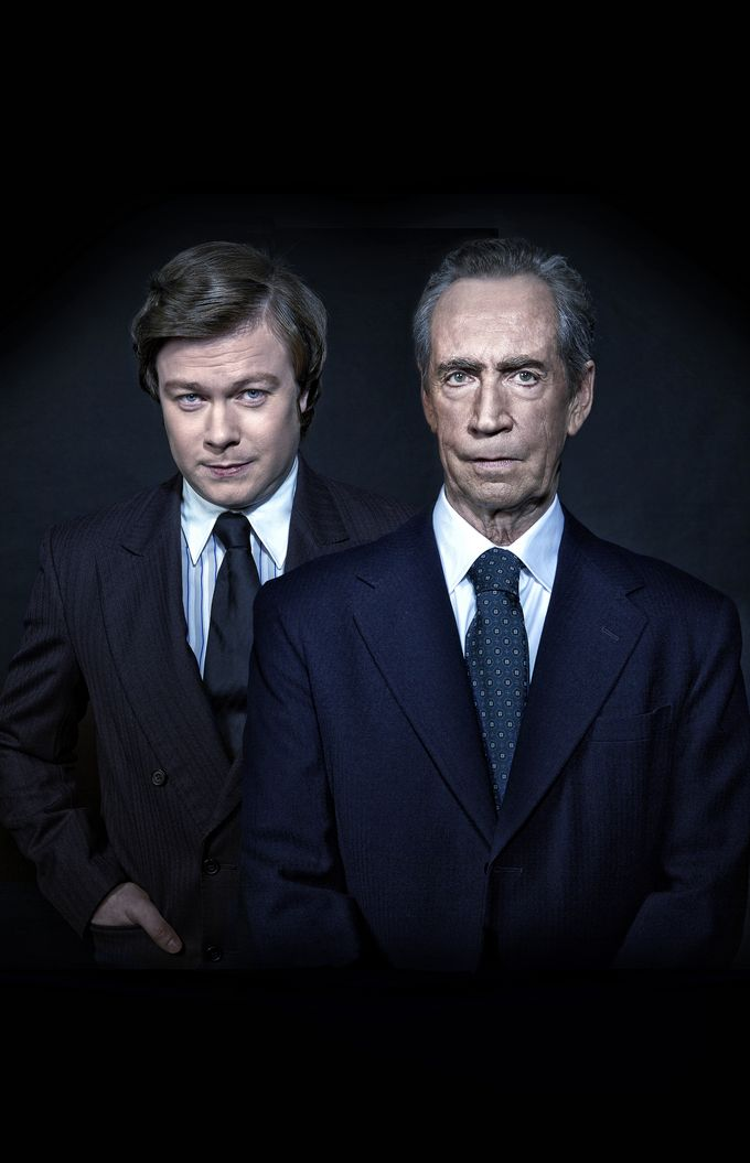 Daniel Rigby and Jonathan Hyde are playing David Frost and Richard Nixon in Frost/Nixon at the Crucible. Photo by Craig Fleming