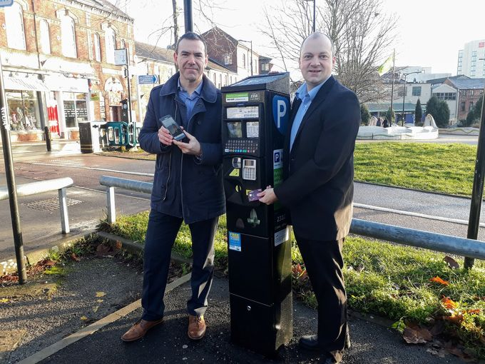 Parking services manager Ben Brailsford and Councillor Jack Scott try out the new contactless parking.