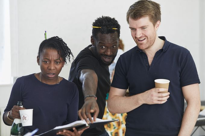 Mercy Ojelade, Sule Rimi, Ciaran Owens in rehearsals for Love and Information. Photo by The Other Richard