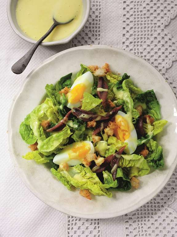 Crisp Lettuce, Anchovy, Egg and Crouton Salad with a Creamy Vinaigrette