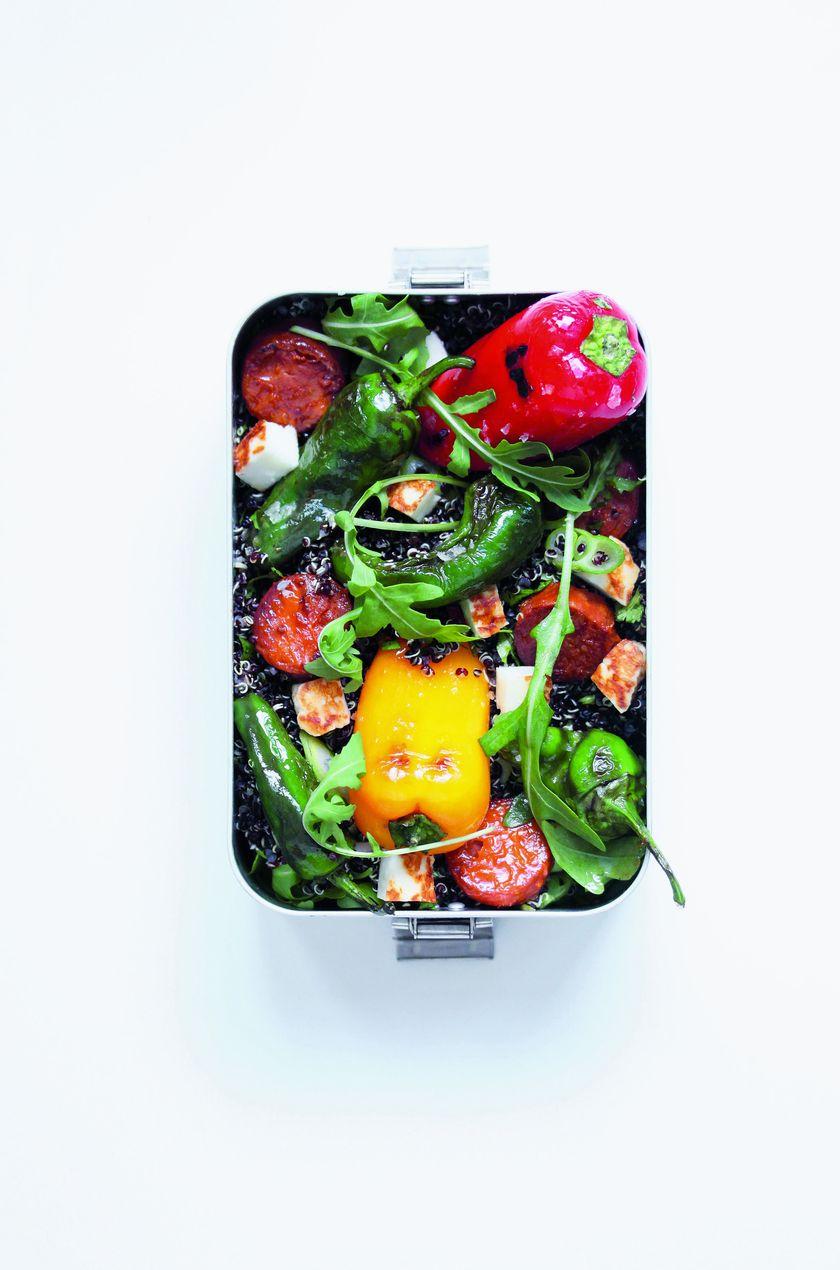 Padron Pepper, Chorizo and Halloumi Salad