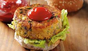 Spicy Mexican Veggie Burgers with Sriracha Ketchup & Jalapenos Recipe