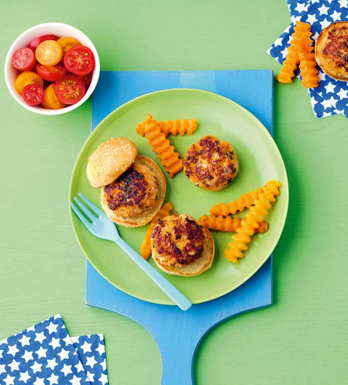 Mini Chicken Burgers with Red Onion, Carrot and Sage