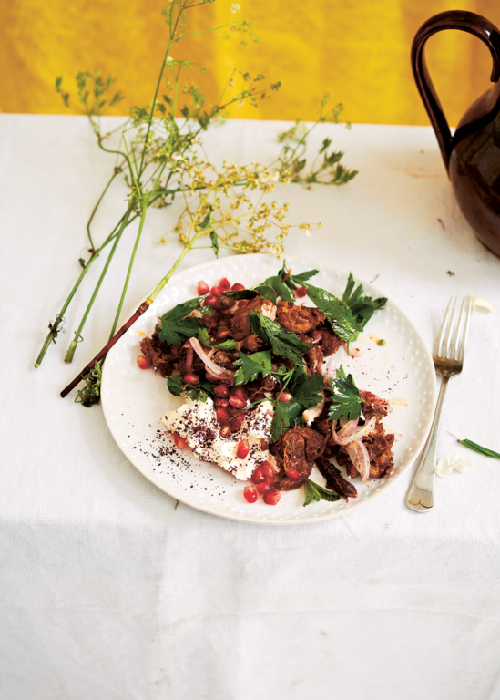 Crispy Lamb, Labneh, Mint, Red Onion & Pomegranate