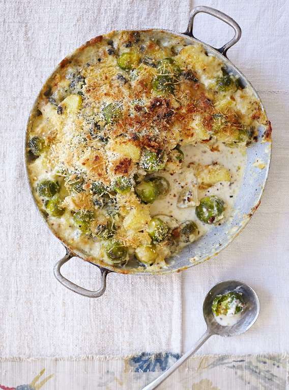 Creamy Cheese, Brussels Sprout and Almond Gratin