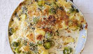 Creamy Cheese, Brussels Sprout and Almond Gratin from The Great British Bake Off: Winter Kitchen