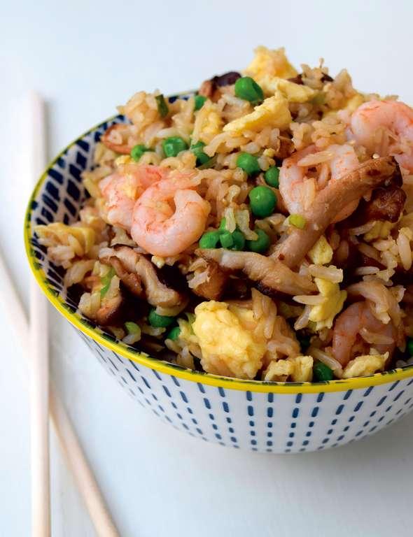 Pea, Prawn and Mushroom Egg-Fried Rice